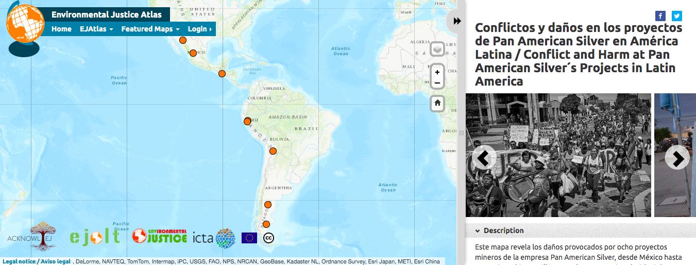 Mapa interactivo ofrece información de ocho proyectos mineros en Latino América. Fuente: EJAtlas.
