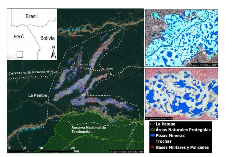 Mapa que muestra la zona de La Pampa y la Reserva Nacional Tambopata analizada por los investigadores. Fuente: CINCIA WFU