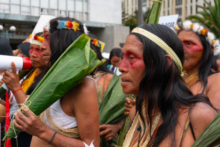 Ataques a mujeres amazónicas. Un grupo de mujeres amazónicas participaron en la marcha del Día de la Mujer en Quito. Foto: Diego Ayala León.