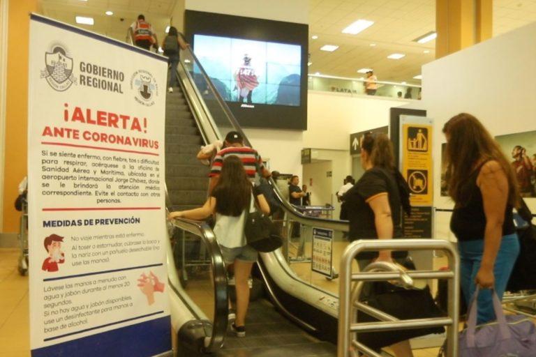Aeropuerto Jorge Chávez tomó mayores medidas de prevención ante el coronavirus. Foto: Agencia Andina.