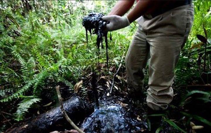 Líder indígena denunció contaminación por derrame de petróleo ante el Punto de Contacto de la OCDE en La Haya, Holanda Fuente: FB de Radio Marañón-Jaén.