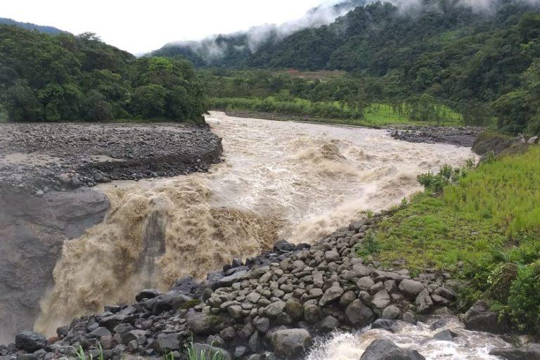 Cascada San Rafael. La erosión del río Coca se ha acelerado en la época de lluvias. Foto: Petroecuador.