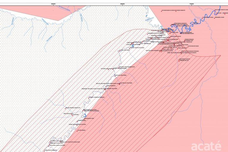 Una  parte del gran mapa de la cabecera del río Galvez. Fuente: Acaté Amazon Conservation.