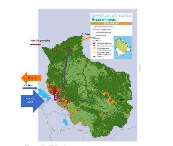 Mapa de las áreas mineras de Bolivia. Fuente: UICN-NL