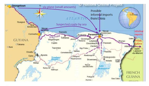 Mapa de las rutas del mercurio en Surinam. Fuente: UICN-NL