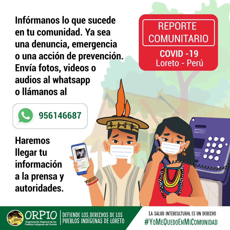 Las organizaciones indígenas difunden por redes sociales mensajes de prevención y atención de la emergencia. Fuente: Orpio.