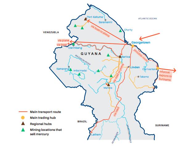 Mapa de las rutas del mercurio en Guyana. Fuente: UICN-NL