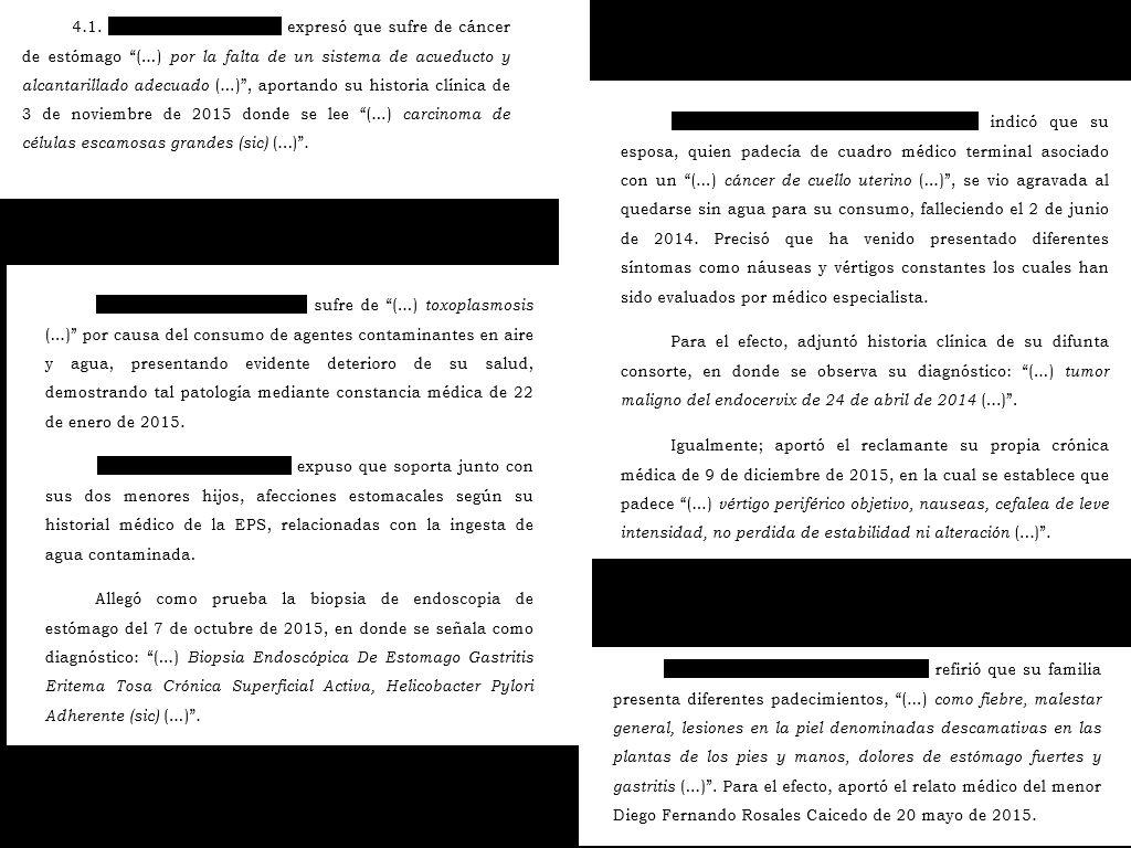 Defensores ambientales Colombia. Crédito: Testimonios consignados en la Sentencia 7360 de 2016, de la Corte Suprema de Justicia ( Colombia). Los nombres fueron borrados.