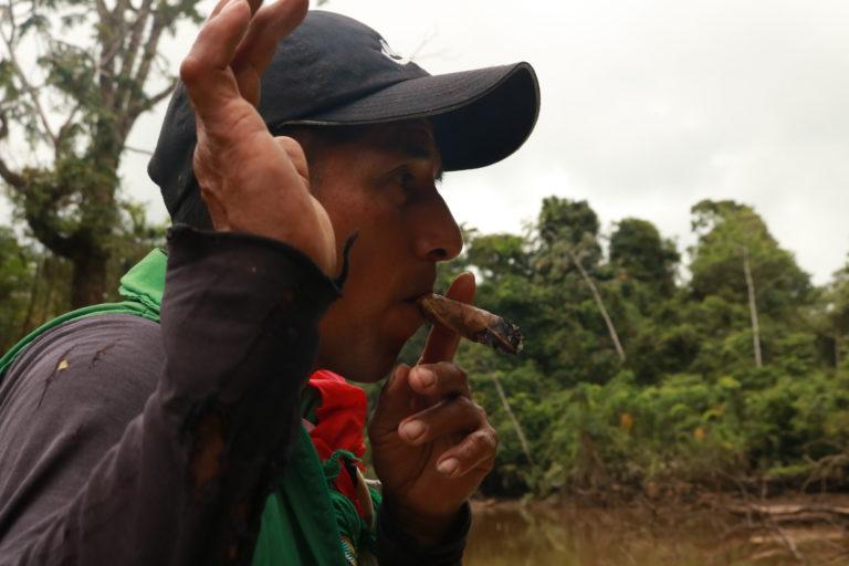 Indígenas siona en peligro. Los siona usan el tabaco para purgarse. Pero además es un elemento fundamental de sus ceremonias. Aquí, en el camino hacia una laguna sagrada cerca a su territorio, el tabaco, dicen, los ayuda a espantar malos espíritus. Foto: César Rojas Ángel.