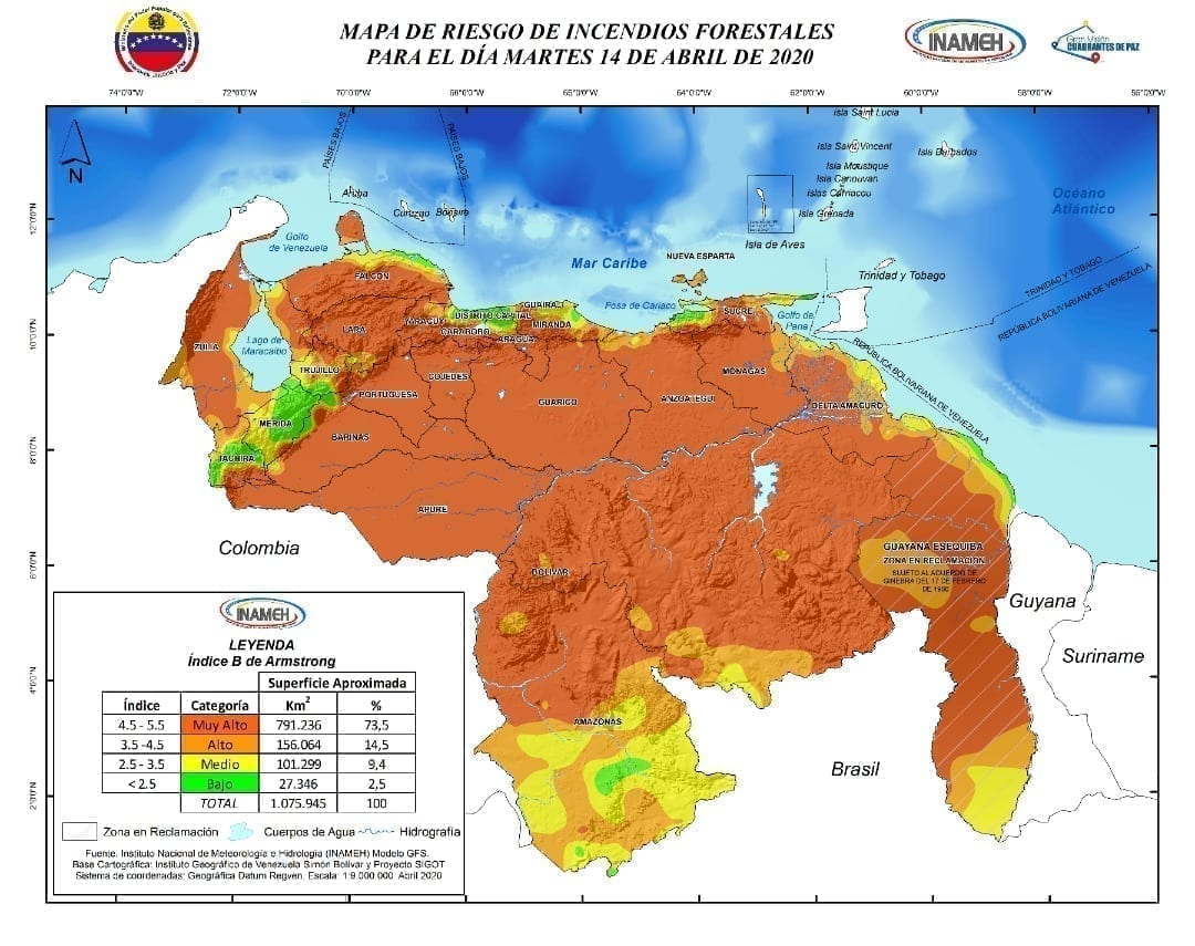 Incendios en Venezuela. El pasado 14 de abril se pronosticaba que en el 74% del territorio venezolano se podían presentar incendios en la categoría muy alto. Foto: Inameh.
