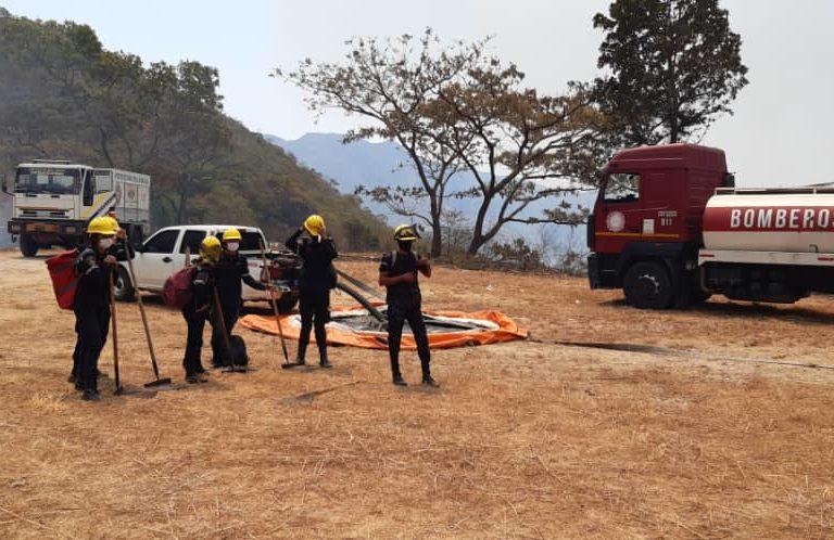 Incendios en Venezuela. Bomberos de Aragua apoyando un incendio forestal en el parque Henri Pittier. Foto: Inparques.