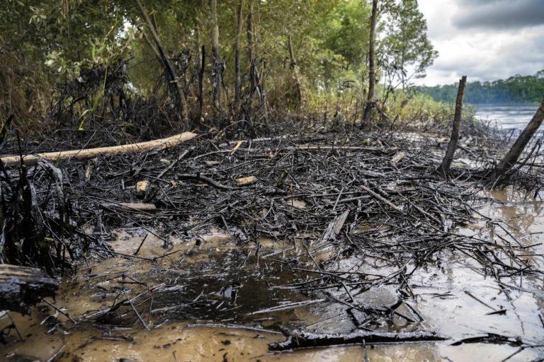 Derrame de petróleo. Petróleo en las orillas del río cerca de la ciudad de Coca, Sucumbíos, Amazonía ecuatoriana, 10 de abril de 2020. Foto Telmo Ibarburu.