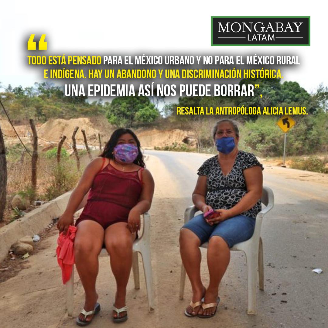 Composición de Mongabay Latam a partir de fotografía de vigilancia en el acceso de una de las comunidades de la montaña de Guerrero. Foto: Tlachinollan.