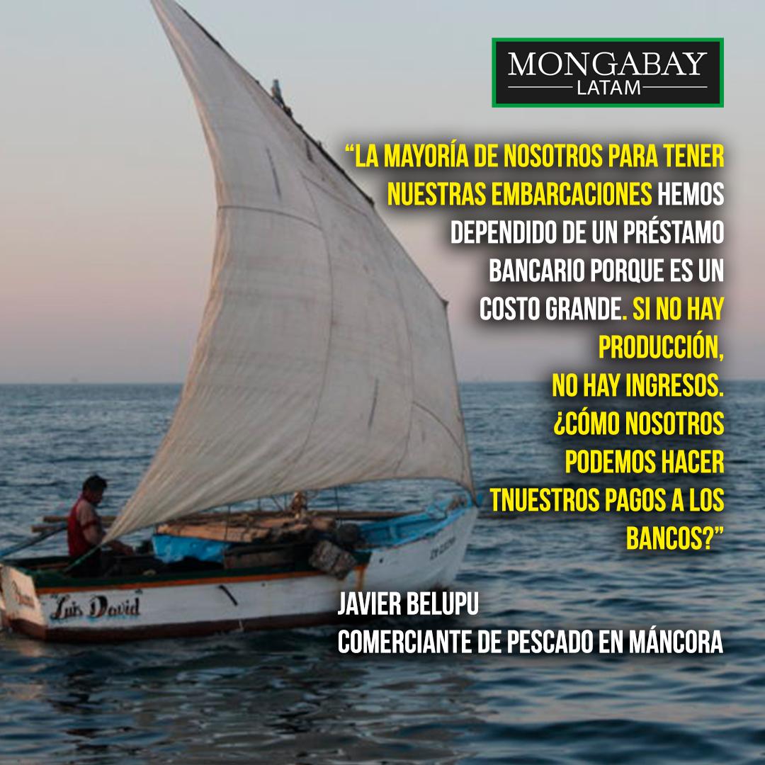 Composición a partir de una foto de un velero artesanal en Cabo Blanco y El Ñuro. Crédito: Vanessa Romo