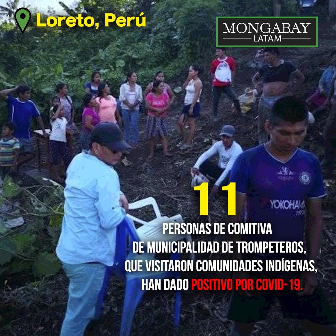 Composición a partir de una foto Mujeres y niños participaron de la entrega de víveres en la comunidad de Pucacuro. Crédito: Municipalidad de Pucacuro.