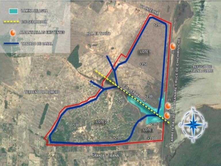 Proyecto turístico en humedal. Plan de excavación de canales en la parcela de LakeBlue según Estudio de Impacto Ambiental.