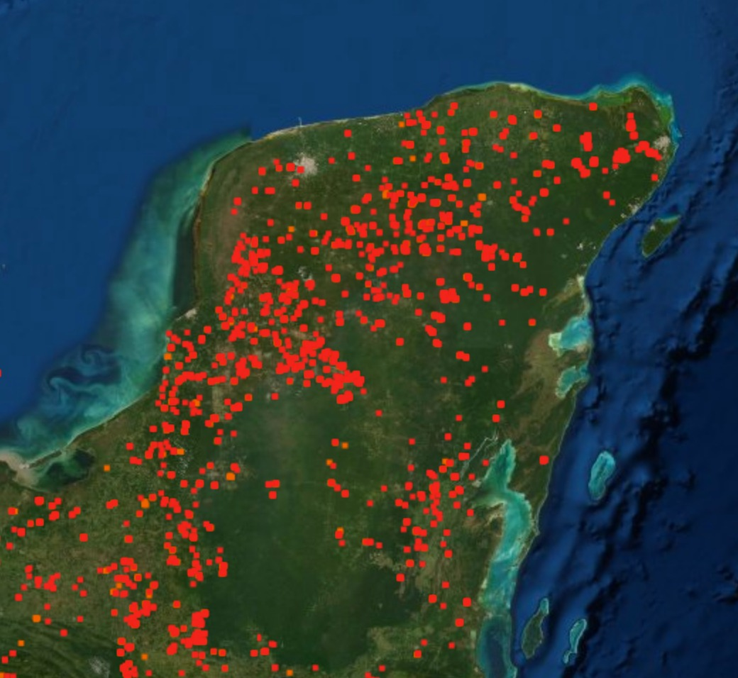 Puntos de calor en la Península de Yucatán en abril de 2020