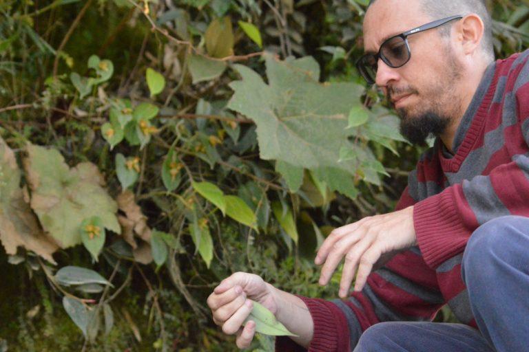 Conservación de orquídeas. El biólogo Luis Baquero lleva más de dos décadas estudiando las orquídeas. Foto: Karen Gil.