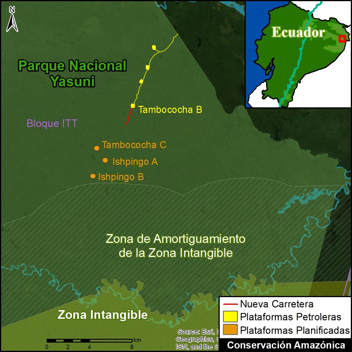 Carretera parque Yasuní. La nueva carretera (en rojo) se acerca plataformas planificadas cerca de la Zona Intangible. Datos: MAAP.