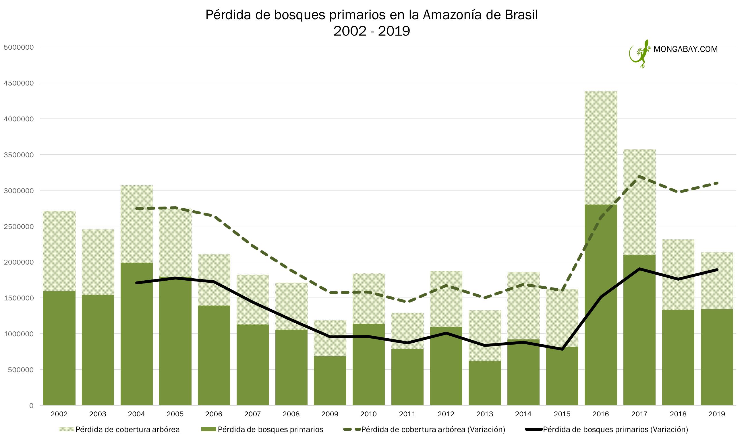 El cuadro muestra la variación de la pérdida de bosques primarios en Brasil entre el 2002 y 2019. Fuente: Elaboración de Mongabay.