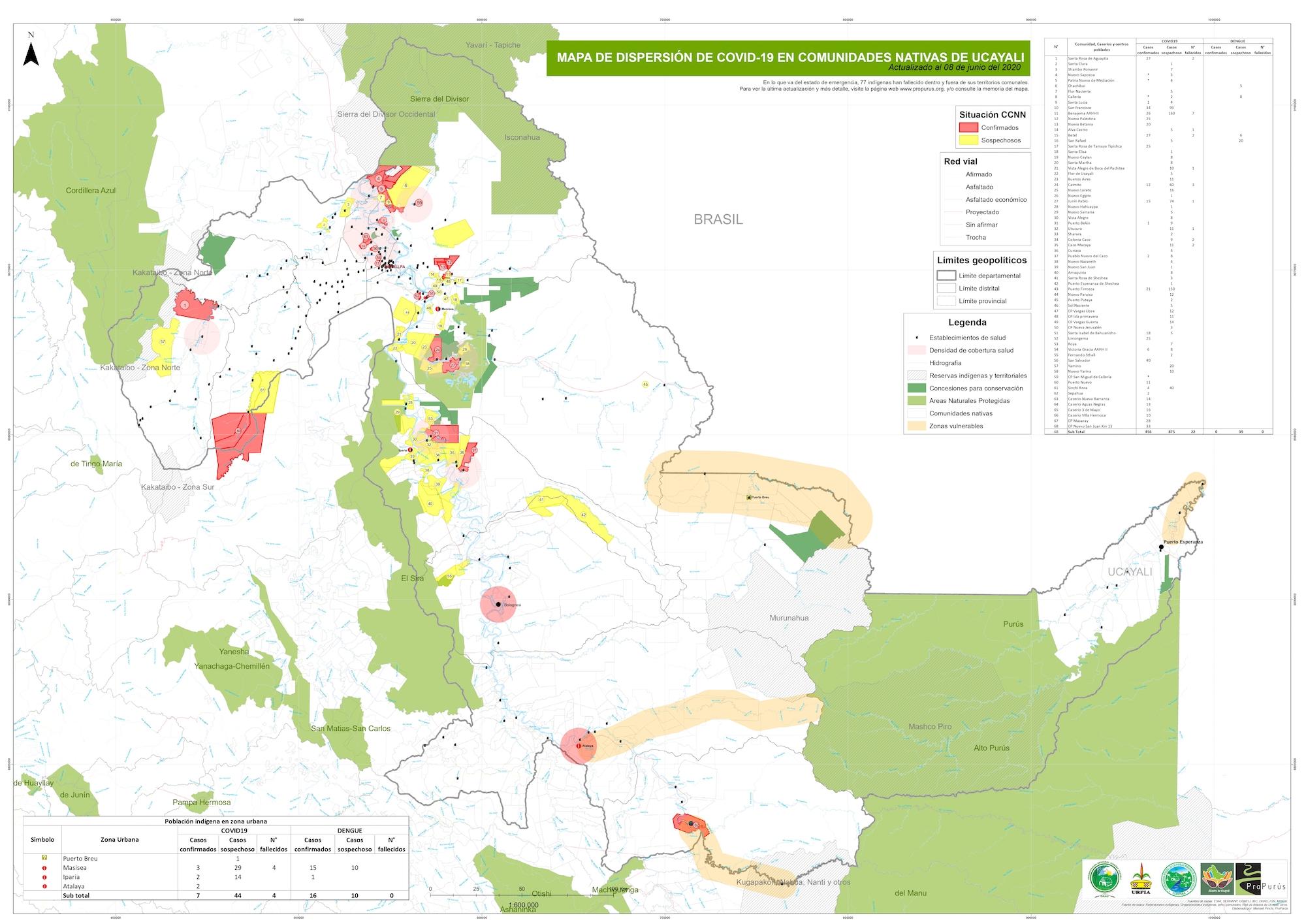 PIACI Mapa que muestra el avance del COVID-19 en la región Ucayali. Fuente: Propurús.
