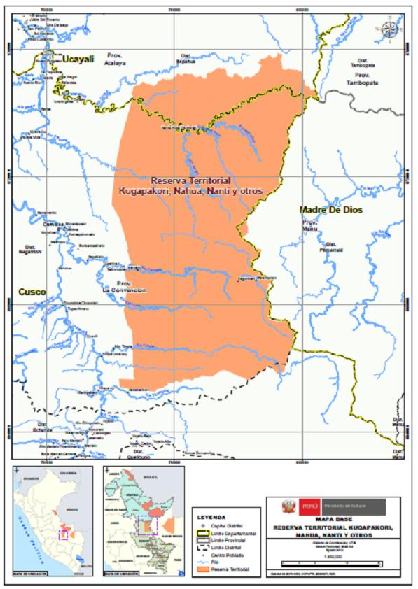 PIACI Mapa de la reserva indígena Indígena Kugakapori, Nahua, Nanti y otros. Fuente: Ministerio de Cultura.
