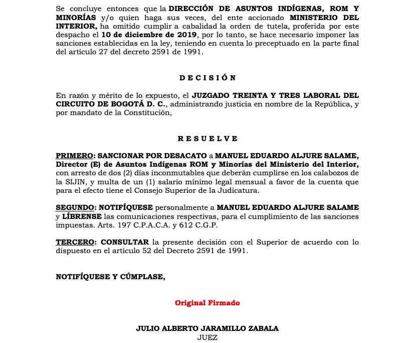 Fragmento del incidente de desacato decretado por el Juzgado 33 laboral de Bogotá (24 de marzo de 2020) en contra de la Dirección de Asuntos Indígenas ROM y Minorías del Ministerio del Interior.