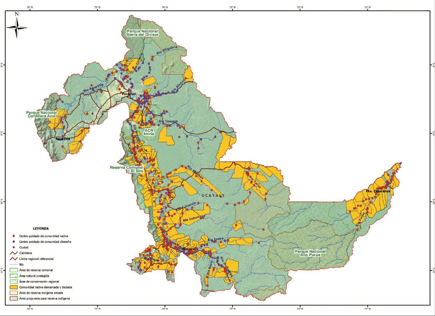 El mapa muestra el avance de la deforestación en Ucayali. Fuente: IBC.
