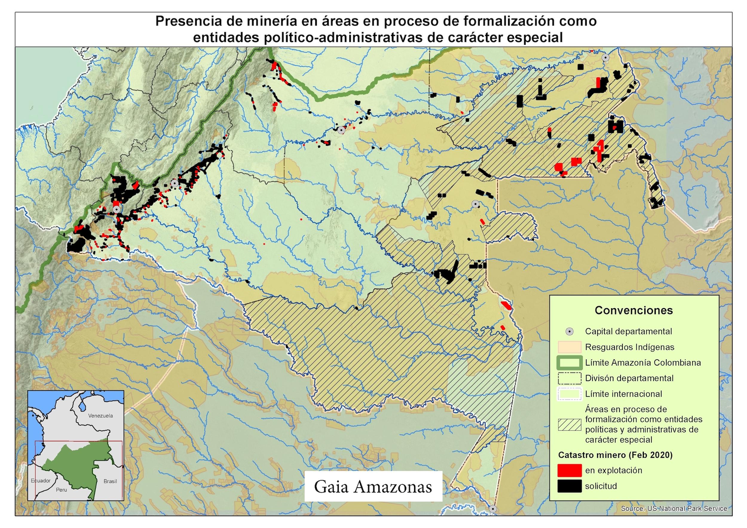 Territorios indígenas Colombia. Los títulos mineros y las solicitudes mineras (en rojo y negro) que se ven en la parte derecha del mapa están, en su gran mayoría, en los departamentos de Guainía y Vaupés. Mapa: Elaboración de Gaia Amazonas.