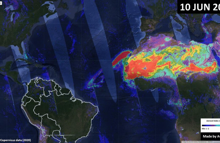 La App de Fuego, desarrollada por ACCA, monitorea en tiempo real la nube de polvo del Sahara. Fuente: ACCA.