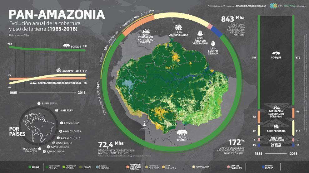 Mapa que muestra la deforestación en la Amazonía. Fuente: MapBiomas.