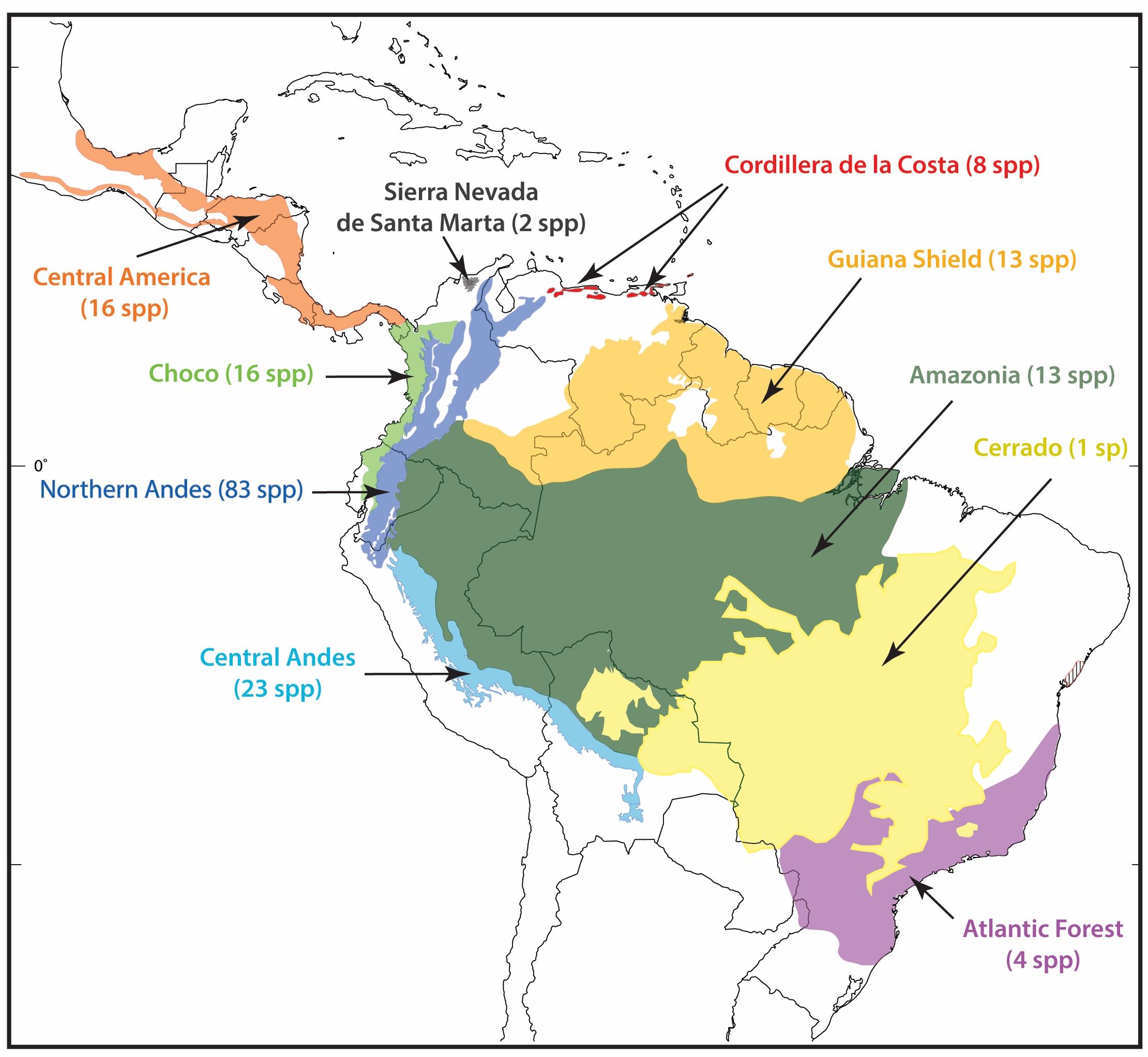 Ranas de cristal. Número de especies de ranas de cristal en distintas ecoregiones de América.
