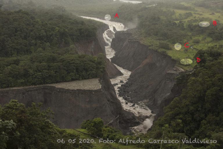 Erosión río Coca. Comparación del avance de la erosión del río Coca. 6 de mayo 2020. Foto: Alfredo Carrasco.