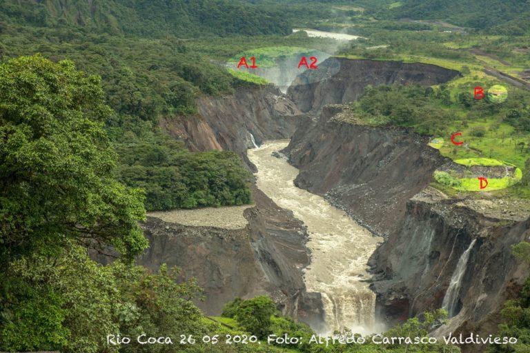 Erosión río Coca. Comparación del avance de la erosión del río Coca. 26 de mayo 2020. Foto: Alfredo Carrasco.
