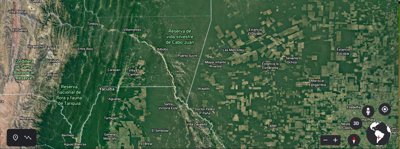 Imagen de la frontera de Bolivia con Paraguay y Argentina. Fuente: Google Earth.