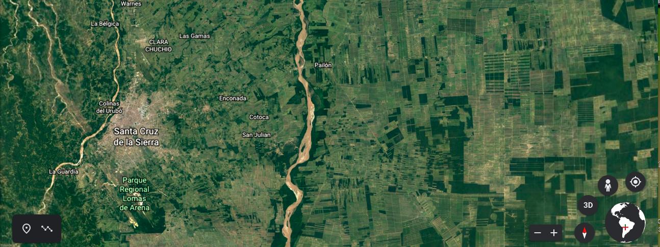 Vista del departamento de Santa Cruz, en Bolivia. Se observa los campos dedicados a la agricultura. Fuente: Google Earth.