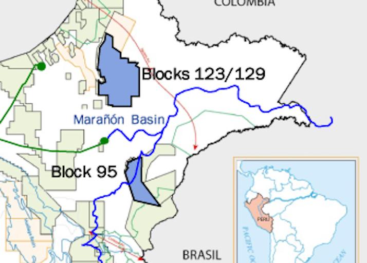 El mapa muestra la ubicación del Lote 95 en la Amazonía peruana. Imagen: PetroTal.