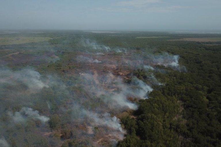 Incendio Parque Isla Salamanca. Aunque no se conoce la cifra oficial de hectáreas quemadas, se calcula que pueden superar las 100. Foto: Parques Nacionales Naturales de Colombia.