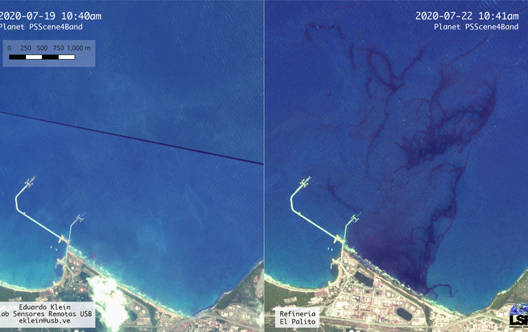 Derrame de petróleo en Venezuela. Análisis de imágenes hechas por el profesor Eduardo Klein para determinar el origen del primer derrame. Foto: Morrocoy Online.