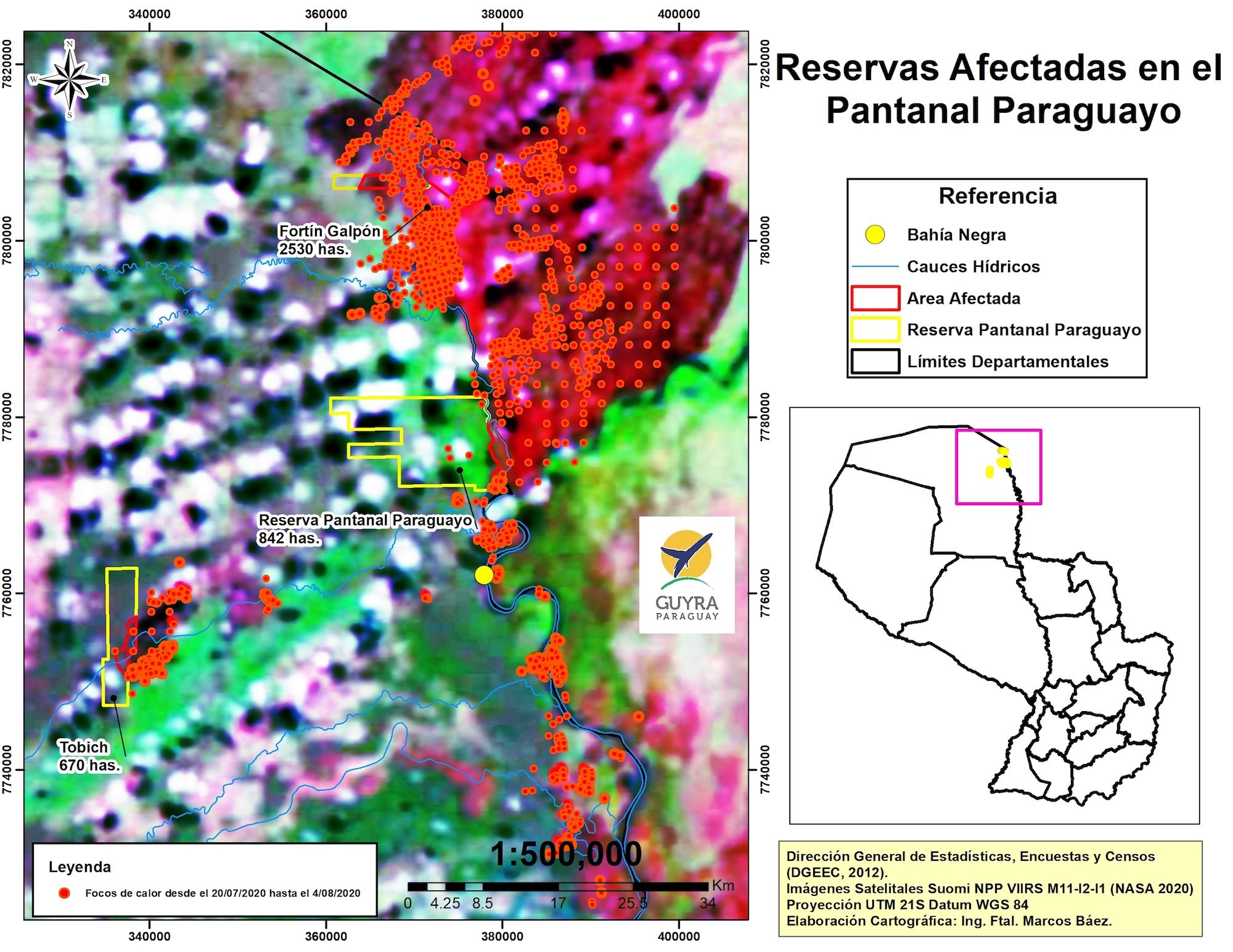 El mapa muestra las zonas afectadas por los incendios forestales en el pantanal paraguayo. Foto: Guyra Paraguay.