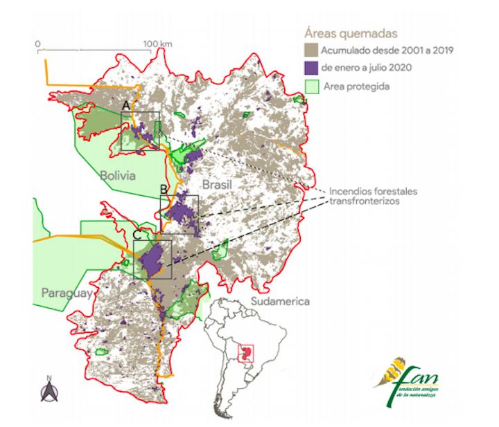 Mapa de los incendios en el pantanal de Brasil, Bolivia y Paraguay en los últimos 19 años. Imagen: FAN Bolivia.