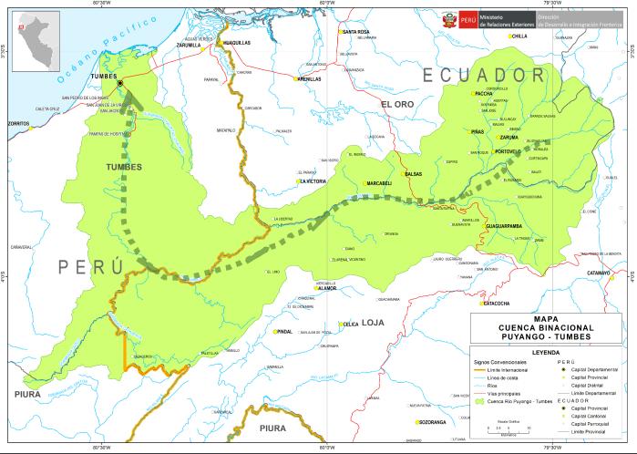 Mapa de la cuenca binacional Puyango - Tumbes.