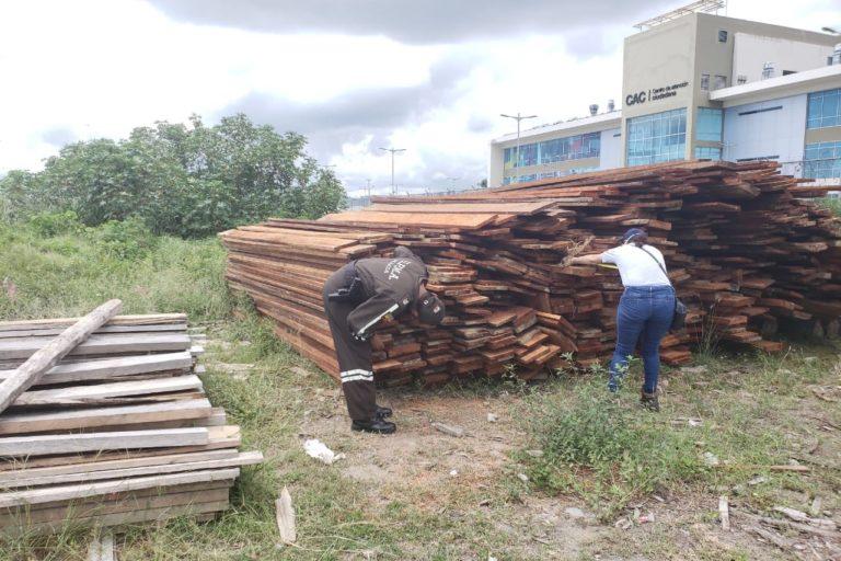 Tala ilegal en Ecuador. Inspecciones en la Reserva Ecológica Mache Chindul, en la provincia de Esmeraldas, llevaron al decomiso de madera talada ilegalmente en el área protegida el 5 de junio 2020. Foto: Policía Ecuador.