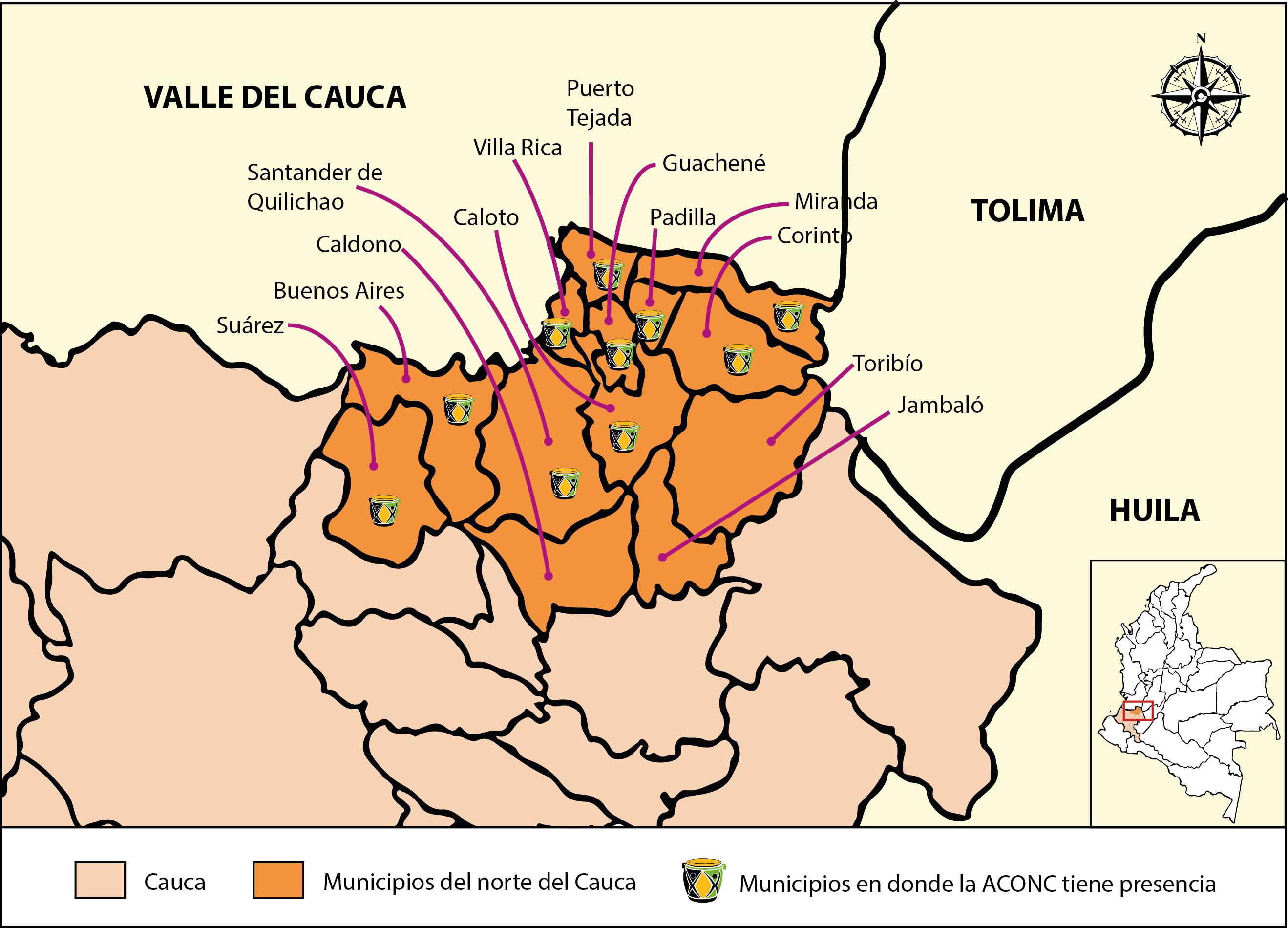 Municipios del norte del Cauca en los que la Aconc tiene presencia. Elaboración propia.
