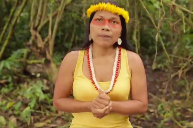 Indígenas Waorani. Nemonte Nenquimo es presidenta de la organización Waorani de Pastaza CONCONAWEP. Foto: Twitter @WaoResistencia.
