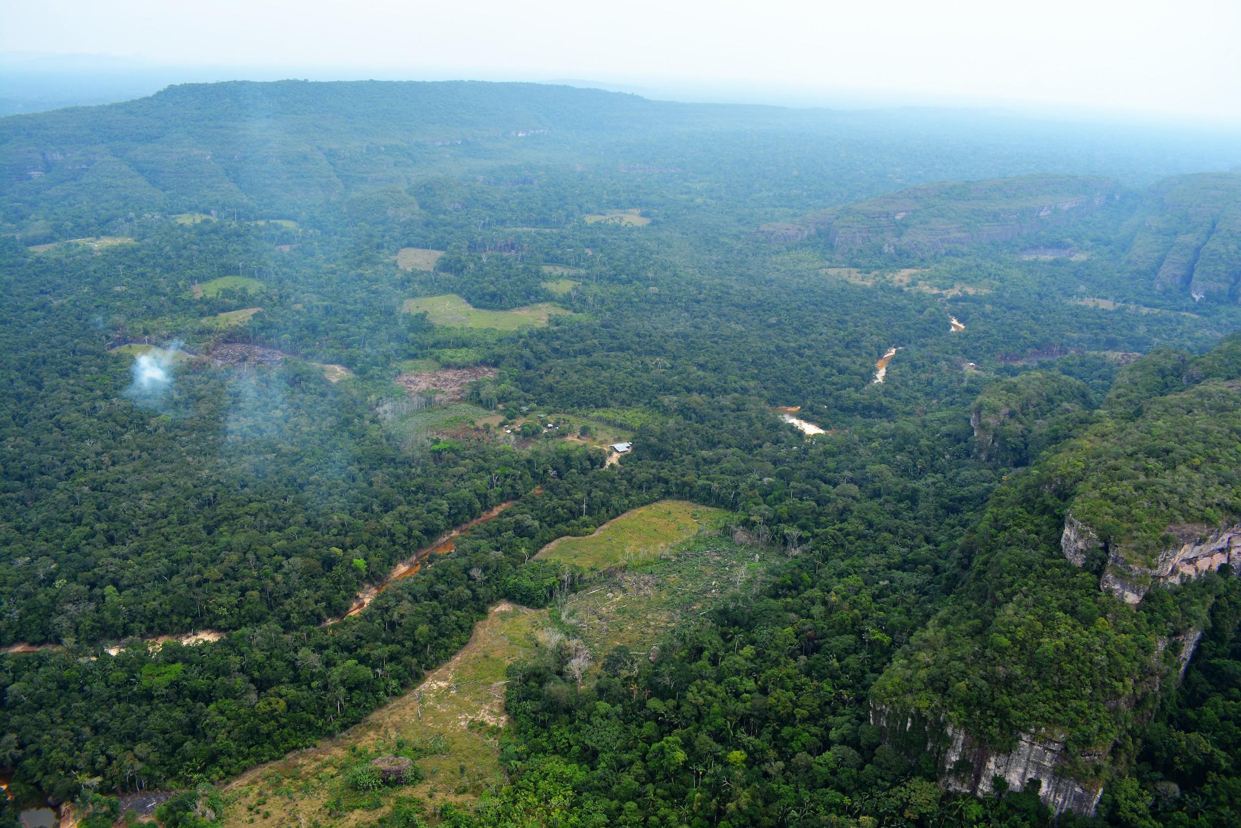 Incendios dentro de la Reserva Nacional Natural Nukak para ir creando lotes para monocultivos y ganadería. El resguardo indígena se superpone a parte de esta área protegida. Foto: Fundación para la Conservación y el Desarrollo Sostenible (FCDS).