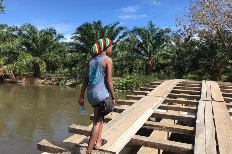 Los garífunas en Honduras tienen que caminar varios kilómetros entre palma para llegar al mar.
