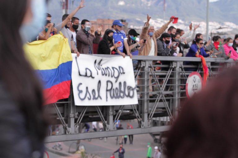 Minga indígena Colombia. Minga en Bogotá. 18 de octubre 2020. Foto: Claudia López @ClaudiaLopez