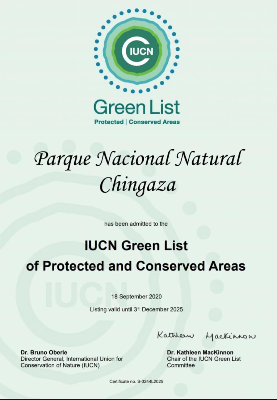 Certificado de ingreso del parque Chingaza a la Lista Verde de la UICN. Foto: Parques Nacionales Naturales de Colombia.