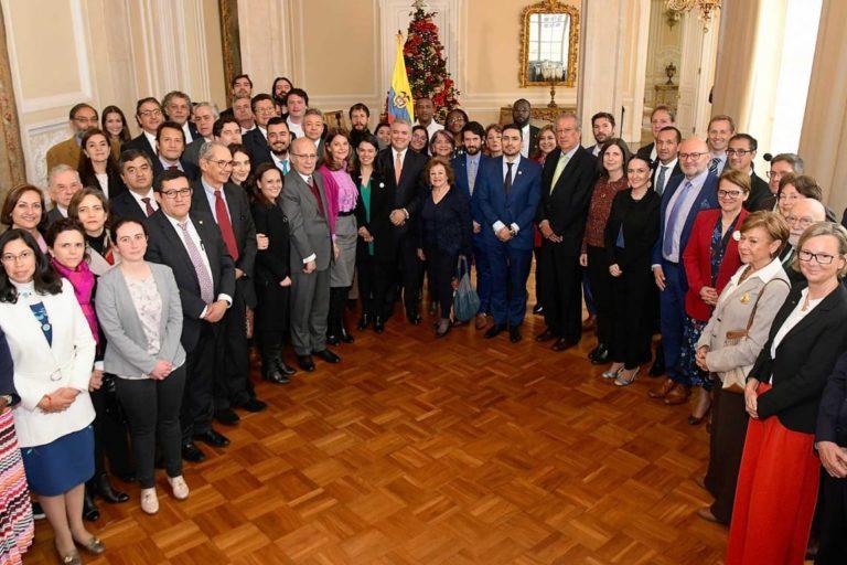 Reunión en la Cancillería de Colombia. Se dio a conocer la firma de Escazú en Nueva York el 11 de diciembre de 2019. Foto: Presidencia de Colombia.